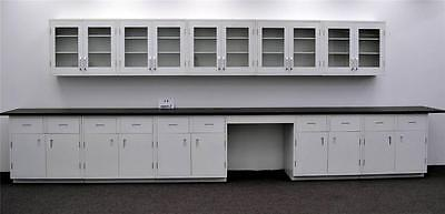 15' Glass Door Wall & 17' Base Laboratory Cabinets  w/ Tops - Surplus