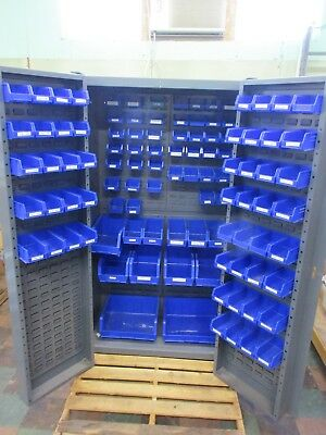 "Gray Storage Cabinet with 106 Bins 72""H x38""W x24""D PICK UP ONLY - WILL NOT SHIP"