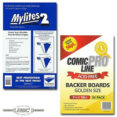 50 - GERBER MYLITES 2 SILVER & GOLDEN AGE Bags & COMIC PRO LINE GOLDEN Boards!