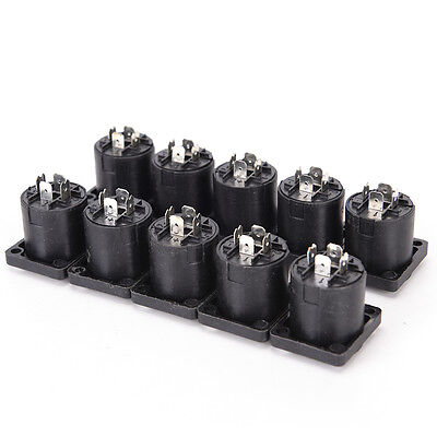 10x Speakon 4 Pin Female jack Compatible Audio Cable Panel Socket Connector PEH