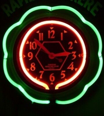 Rare 1930s CANADIAN RAY 2 Color NEON CLOCK Nice Original Condition PAM Style
