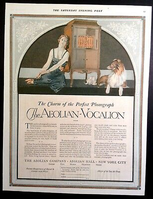 1920 RARE Print Ad Aeolian Vocalion Phonograph Coles Phillips Woman w/Collie Dog