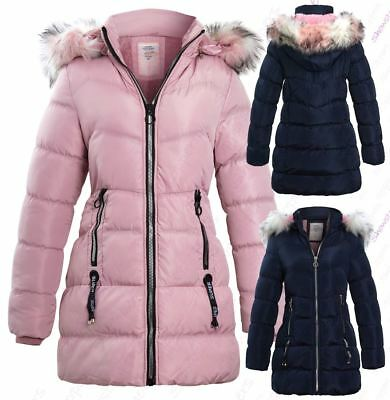 Girls Fleece Lined Padded Parka Coat Faux Fur Jacket Age 4 7 8 9 10 11 12 13 14