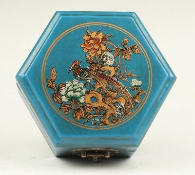 Vintage Chinese Blue Leather Wood Jewelry Box Old Painting Flower Birds Decorate