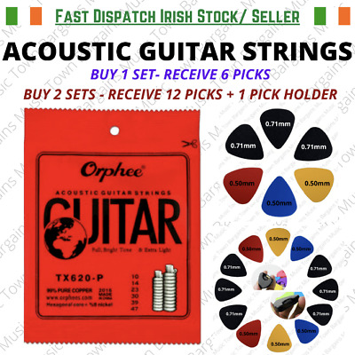 Acoustic Guitar Strings Extra Light + 6 Free picks + Free delivery