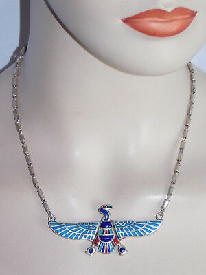 Rare Antique Sign Solid Silver Egyptian Stone Nekhbet Charm Necklace