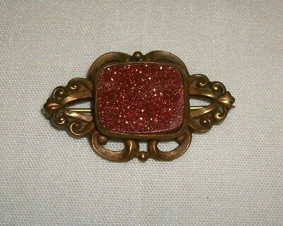 Vintage Victorian Goldstone & Brass Pin Brooch Antique