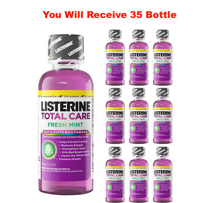 (35-Pack) Listerine Mouthwash Total Care Fresh Mint Antiseptic Travel Size 3.2oz