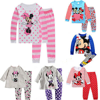 Baby Kids Boy Girl Mickey Minnie Mouse Pjs Sleepwear Nightwear Pajamas Set 2pcs