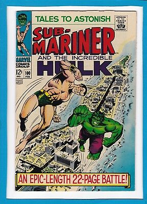 TALES TO ASTONISH #100_FEBRUARY 1968_VERY FINE+_INCREDIBLE HULK Vs SUB-MARINER!