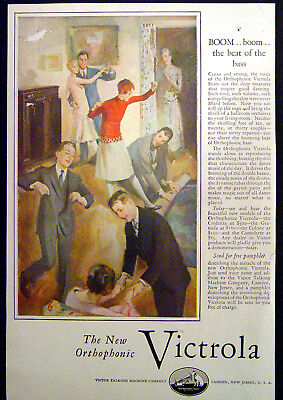 1927 Print Ad Victor Victrola Talking Machine – Teenage Party – Boom of the Bass