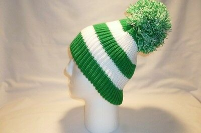 Luxury Green And White Stripe Fleece Lined Bobble Hat Beanie Mens Womens Kids