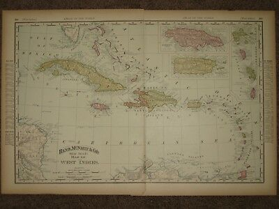 1895 WEST INDIES CUBA JAMAICA ANTIQUE MAP Rand McNally Atlas 22 x 14 Original