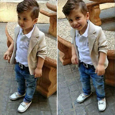 3Pcs Toddler Baby Boy Kids Gentleman Blazer Coat T-shirt Denim Pants Outfits Set