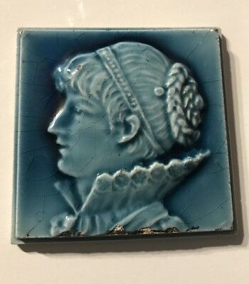 "1800's Ceramic Blue Glazed 4"" Square Stove Art Tile Victorian Left Facing Female"