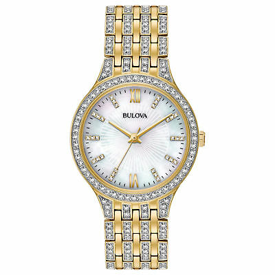 Bulova 98L234 White Mother of Pearl Dial 178 Swarovski Crystals Watch $450