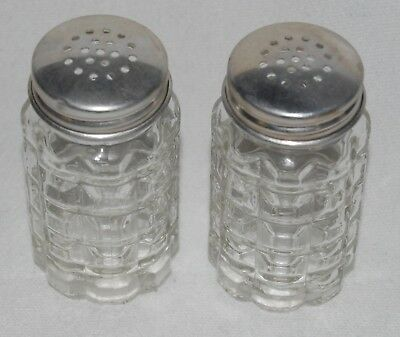 Vintage Anchor Hocking Glass Salt & Pepper Shakers With Aluminum Lids