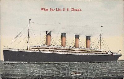 Original White Star Line SS Olympic Postcard Steamship Sister Ship of Titanic