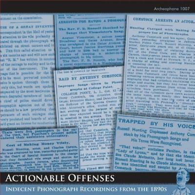 Actionable Offenses: Indecent Phonograph Recordings 1890s w/ Booklet AUDIO CD