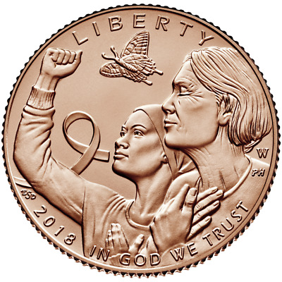 "2018 Breast Cancer Awareness $5 Gold Uncirculated Coin With ""O.G.P"" (b381)"