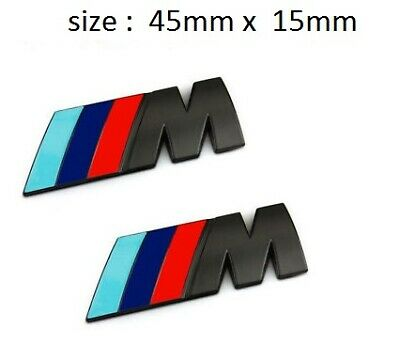 2 x M Sport Side Small Emblem M Power Badge Metal Chrome BMW Black Badge 3D Logo
