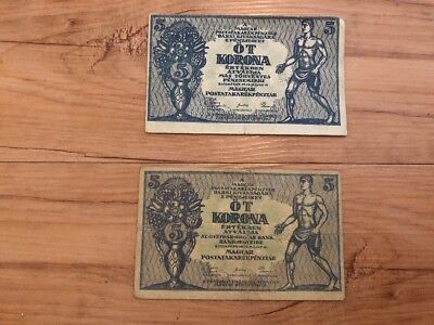 Lot Of 2 Hungary 5 Korona From 1919 Second Note From Block 2 Rare