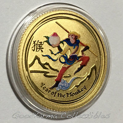 2016 P Australia COLORIZED Gold 9999 Lunar Year of Monkey KING 1/10 oz Coin BU