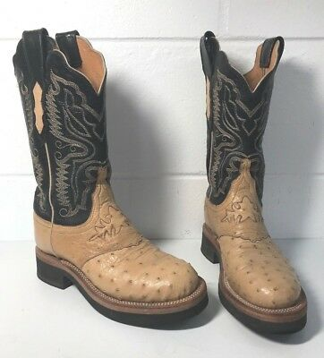 LUCCHESE Brown OSTRICH Leather Womens WESTERN Cowgirl COWBOY BOOTS sz 5C 5 C