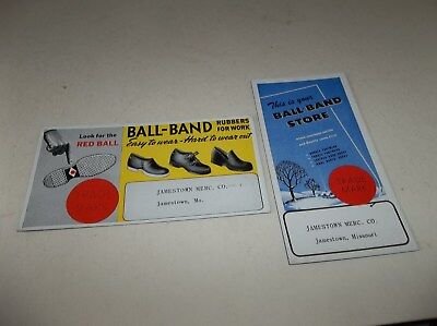 2 Unused Vtg Jamestown MO Mercantile Co. Ink Blotters Ball Band Rubbers Shoes