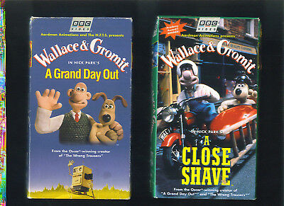 WALLACE & GROMIT Lot of 2 VHS Tapes A Close Shave A Grand Day Out Nick PARK