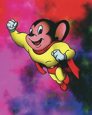 Mighty Mouse Signed Autograph 11x8.5  Fun Retro Style Tribute Print With COA PJ