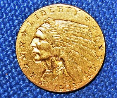 1st Year Issued 1908 UNITED STATES $2.50 Gold Recessed Indian Head Quarter Eagle