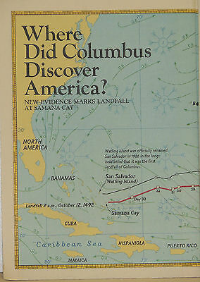 1986 National Geographic Map of Where did Christopher Columbus Discover...