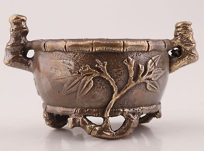 China Rare Bronze Hand-Carved Bamboo Statue Incense Furnace Pot Old Collection