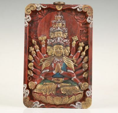 Red Wood Deep Carving Thousand Hands Guanyin Statue  Wall Decorative Painting