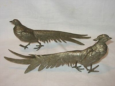Vintage Pair Of Brass Pheasants Birds Male Female Made In Italy Figurines