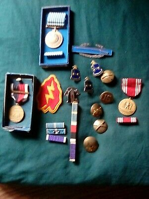 Vintage U.S. MILITARY Lot ARMY KOREAN WAR etc. PATCHES RIBBON BAR PINS MEDALS