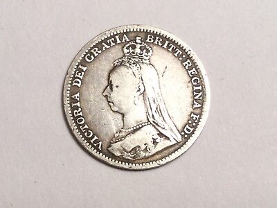 GREAT BRITAIN 1891 Threepence small silver coin nice condition