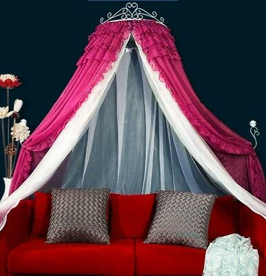 Queen '' Princess Rose Red Ceiling Type Mosquito Net Bed Canopy Bed Curtain