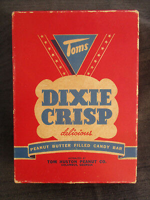 VINTAGE 1950s TOMS DIXIE CRISP PEANUT BUTTER CANDY BAR DISPLAY BOX TOM HUSTON CO