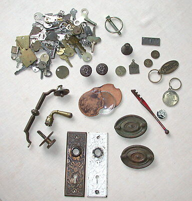 Mixed Lot Vintage Keys Keyhole Escutcheon Brass Pins Knobs Plates
