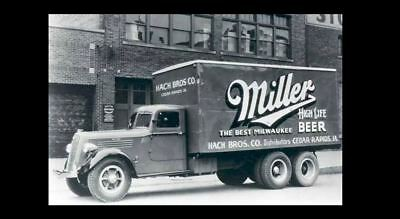 Vintage Miller High Life Beer Truck PHOTO Bar Sign Ad Advertisement Iowa 1950s