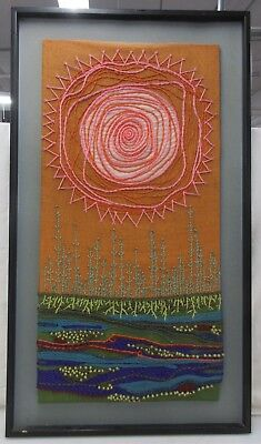 Mid Century Mod Textile Art Stylized Sun Over Wheat W/ Roots*Local Pickup Only*