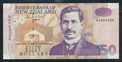 "New Zealand: 1992 $50 Brash SCARCE 1ST PREFIX ""AA"". P180a UNC Lt hand Cat $160"