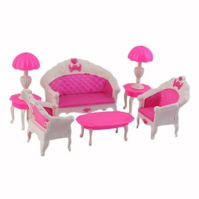 6PCS Home Sofa Barbie Dollhouse Furniture Doll Accessories Girl DIY Toy Decor