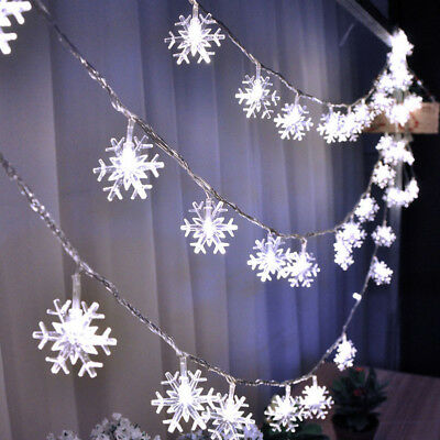 3M 20 LED Snowflake String Curtain Window Light Christmas Wedding Party Decor CZ