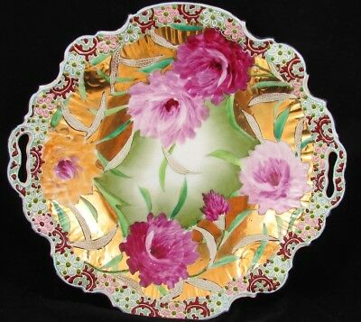 Unmarked Nippon Hp Moriage Heavy Gold Gilt Pink Yellow Flowers Plate Dish