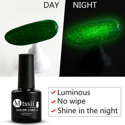 MTSSII 7ml Fluorescent Luminous No-wipe Top Coat UV Gel Varnish Nail Art Lacquer