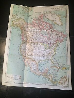 1910 Antique Map of NORTH AMERICA! 108 years old folding map ready to frame NR!!