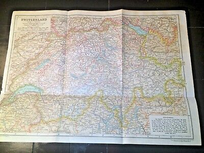 """ANTIQUE 1910 Map of SWITZERLAND! 108 years old 15"""" x 11"""" ready to frame NR!!"""